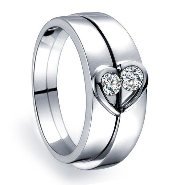 Inexpensive Heart Shape Couples Matching Wedding Band Rings on Silver: Matching Wedding Bands, Couples Matching, Wedding Ideas, Heart Shapes, Wedding Band Rings, Inexpensive Heart, Engagement Ring, Wedding Rings, Shape Couples