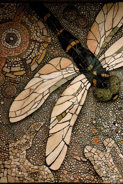 #InspiredbyVintage - The dragonfly represents Strength peace & harmony.  This has a great color palette: Mosaic Tile, Mosaic Dragonfly, Mosaics, Dragonfly Mosaic, Dragonflies