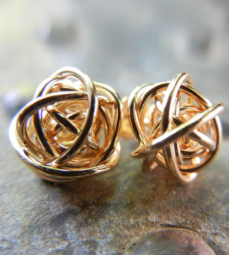 Love Knot Stud Earrings | A tiny reminder of all the twists and turns taken on the rolle... | Earrings: Simple Gold Earrings, Gold Stud Earrings, Knot Stud, Simple Stud Earrings, Gold Earrings Studs, Gold Knot Earrings