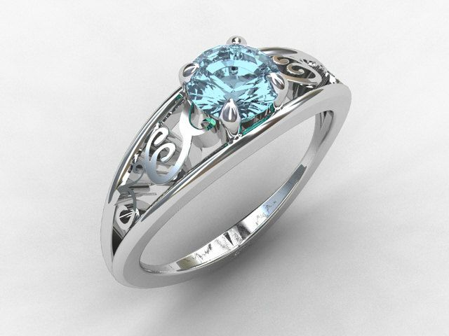 LOVE THIS! Aquamarine engagement ring, white gold, filigree ring, blue engagement, solitaire, vintage style, lace ring, birthstone. $1,589.00, via Etsy.: Aquamarine Engagement Rings, Gold Filigree, Aquamarine Rings, Filigree Ring, White Gold, Aquamarine,