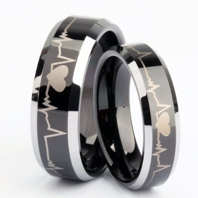 Matching Black Tungsten Carbide Rings for His or Hers Men Women Forever Love Laser Engraved Flat Top Polised Finished Comfort Fit Wedding Band, engagement, promise rings, or anniversary. Both his:8mm & hers:6mm sold separately $16.99 each ring.: Weddi