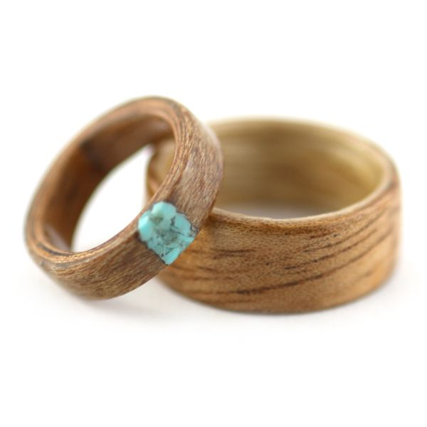 Matching Wedding Wood Rings - Provided woods with Turquoise: Design Rings, Bentwood Rings, Wooden Rings, Turquoise Wedding Ring, Turquoise Rings, Wedding Rings, Woods