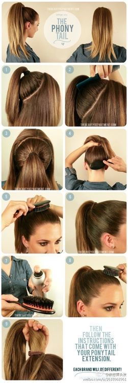 May use this technique to put my hair up in a pony tale when it gets longer my hair is really thick and this my work better minus the extension.: Make Up, Ponytails, Hairstyles, Idea, Hair Styles, Phony Tail, Pony Tails, High Ponytail