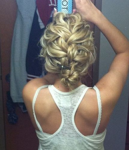 Messy French Braid Bun... You want an updo and this could probably go to the side a little too.: French Braids, Hairstyles, Frenchbraid, Hair Styles, French Braid Bun, Updo, Messy French Braid