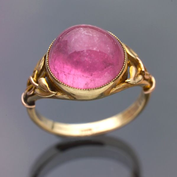 MURRLE BENNETT & CO  Arts & Crafts Ring   Gold Tourmaline  Diameter: 1.30 cm (0.51 in)   Marks: '9ct'  British, c.1900: Pink Tourmaline, Art, C 1900, Rings, Tourmaline Ring, Bennet Ring
