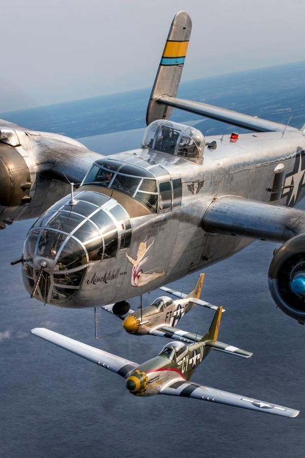 North American B-25 Mitchell bomber Miss Mitchell flanked by a pair of North American P-51 Mustangs, Gunfighter (foreground) and Angel's Playmate.: Air Force, P 51 Mustangs, Angel S Playmate, P 51D Mustangs, Mitchell Bomber, B 25 Mitchell, English Cha