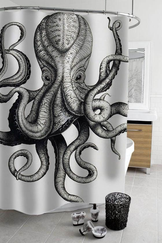octopus shower curtain by stacygood4 on Etsy: Octopus Bathroom Decor, Bathroom Octopus, Octopus House, Octopus Decor Bathroom, Octopus Revelation, Octopus Shower Curtains, Octopus Artwork, Octopus Squids, Octopus 3D