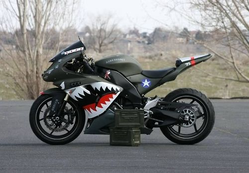 Ok, this is sweet, now I need to get one and have a friend ride one painted with a Japanese WWII paint job: Motorcycles, Motorbike, Bikes, Cars Motorcycle, Shark, Street Bike, Paint Job
