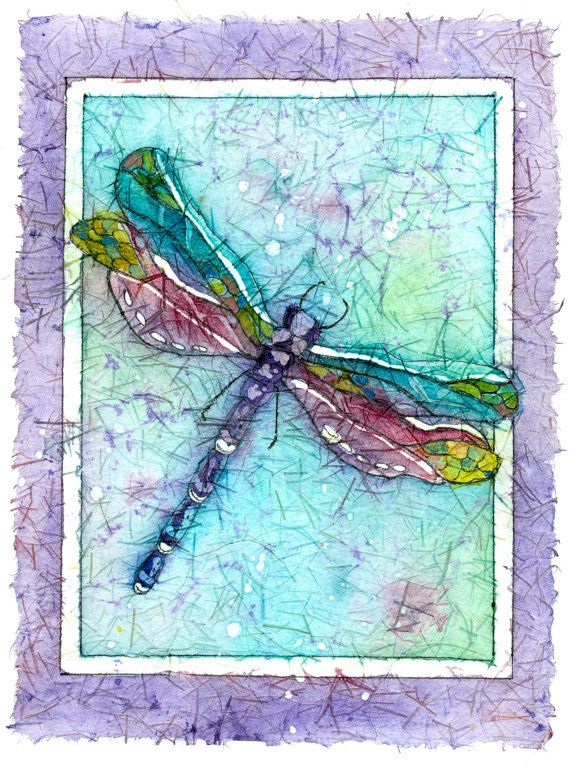 Original Batik Giclee, A Dragonfly showing his colors of turquoise,purple and fuchsia, 8x10 or 11x14. on Etsy, $20.00: Dragonfly Watercolor, Insect Painting, Dragonfly Art, Watercolor Batik, Dragonfly Painting Watercolor, Insect Artist, Art Painting, Rice