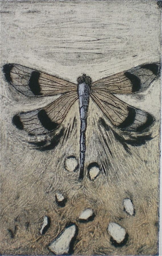Original hand pulled collograph print by DeanDymentStudios on Etsy, $50.00: Collagraph Printmaking Woodcut, Collagraph Ideas, Butterflies Dragonflies Moths, Collagraph Prints, Collography Print, Collagraph Printing, Collograph Print Etsy, Dragonfly, Colla