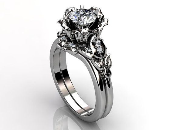 Platinum diamond unusual unique floral engagement ring by Jewelice: Wedding Ring, Floral Engagement Ring, Unusual Unique, Unique Flower, Gold Diamond, Unique Floral, Engagement Rings