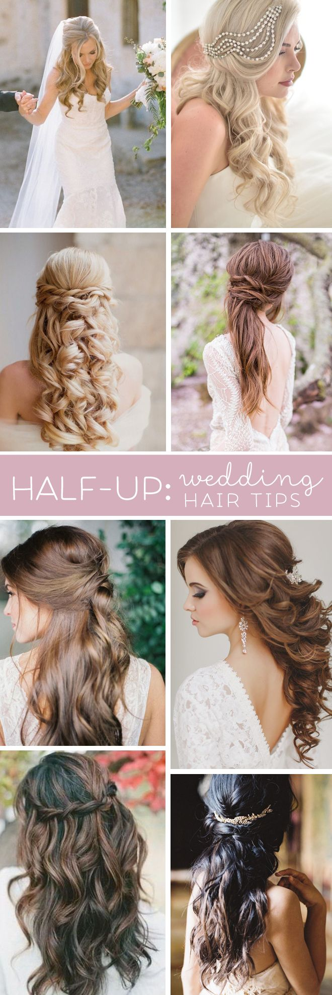 Terrific tips for wearing half-up hair styles for your wedding.. Don't forget personalized napkins for all of your wedding events! From the engagement party to the reception! www.napkinspersonalized.com: Engagement Hairstyle, Hair Down Wedding Style,