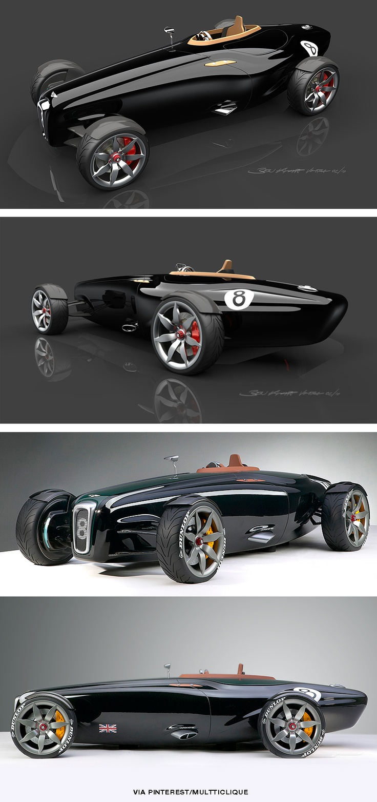 The Bentley Barnato Roadster was designed to evoke the spirit of the original racing Bentley's, the cars that had superchargers bolted onto the front and went belting around Brooklands setting new speed records and winning races whilst being derisively du