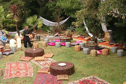 the Bohemian #wedding reception with mismatched rugs, low tables, and tons of seating#letlifeflow#soulflowercontest: Party'S, Wedding Ideas, Garden Party, Bohemian Wedding, Outdoor, Garden Parties, Backyard, Bohemian Garden, Party Ideas