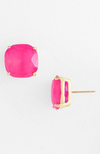These whimsical stud earrings are available in 17 super fun shades! via @Nordstrom: Studs, Square Stud, Stud Earrings, Pink Stud, Spade Stud, New York, Kate Spade, Katespade