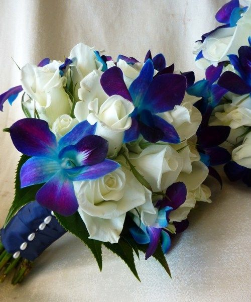 This could be the bridesmaids.. blue and purple wedding bouquets | Wedding Flowers | Lilydale, Melbourne | Flowers for Weddings @Renee Shafer: Blue Orchids, White Roses, Wedding Ideas, Wedding Stuff, Wedding Flowers, Bouquets, Dream Wedding, Future Weddin