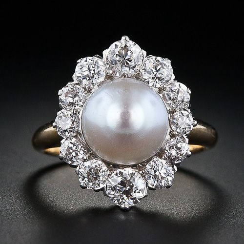 This has to be one of the most beautiful antique pearl rings I have everrrrr seen!!!: Antique Natural, Antique Pearl Engagement Ring, Natural Pearl, Pearl Rings, Diamonds, Antique Pearl Ring, Pearls, Pearl And Diamond Rings