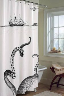 This is a shower curtain to advertise Kraken, a very strong rum. HOWEVER, I'm strongly considering getting this for a Cthulhu-themed bathroom...: Showers, Kraken Shower, Ideas, Awesome Shower, Showercurtain, Shower Curtains, House, Octopus, Bathroom