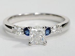 This striking setting features two brilliant diamonds alternating with two vivid blue sapphires for the perfect complement to the centre diamond of your choice. 1/5 carat total diamond weight.: Bella Sapphire, Diamond Engagement Rings, Blue Sapphire, Wedd