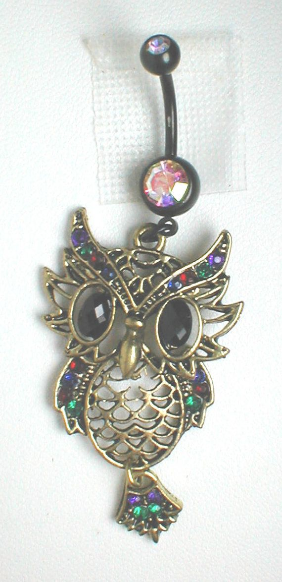 Unique Belly Ring - Owl with Rhinestones. $14.95, via Etsy..would totally get this if I ever pierced my belly button: Unique Belly Button Ring, Belly Piercings, Button Piercings, Belly Button Rings, Unique Belly Rings, Belly Button Piercing, Bellybutton R