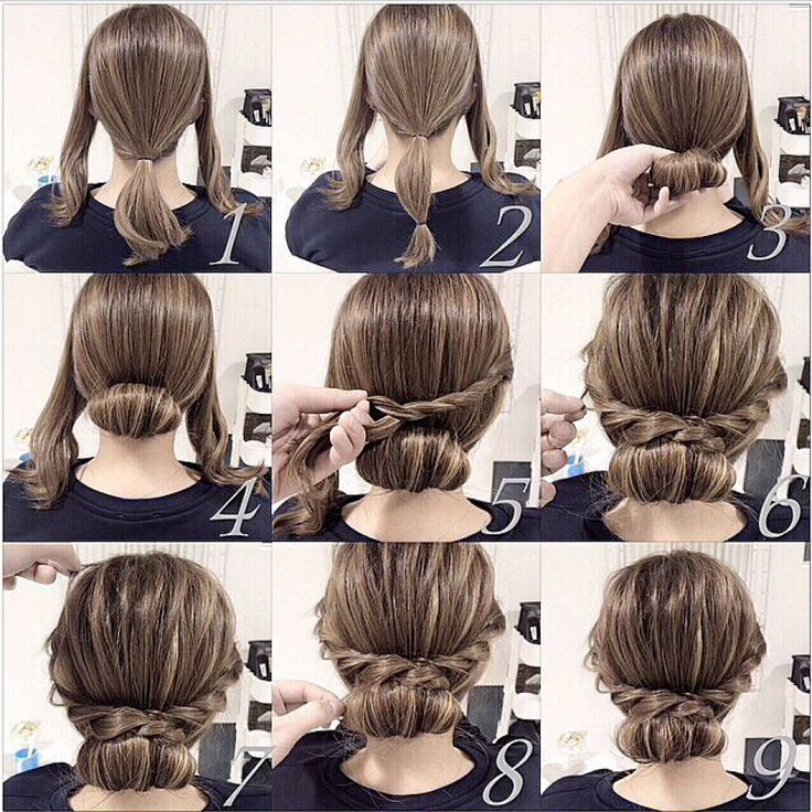 Very pretty hair idea with three sections twisting the sides and a bun: Easy Hair Up, Short Updo, Hairstyles, Hairdos, Short Hair Updo, Plait Hairstyle, Hair Style, Short Hair Up Do, Quick Easy Updo