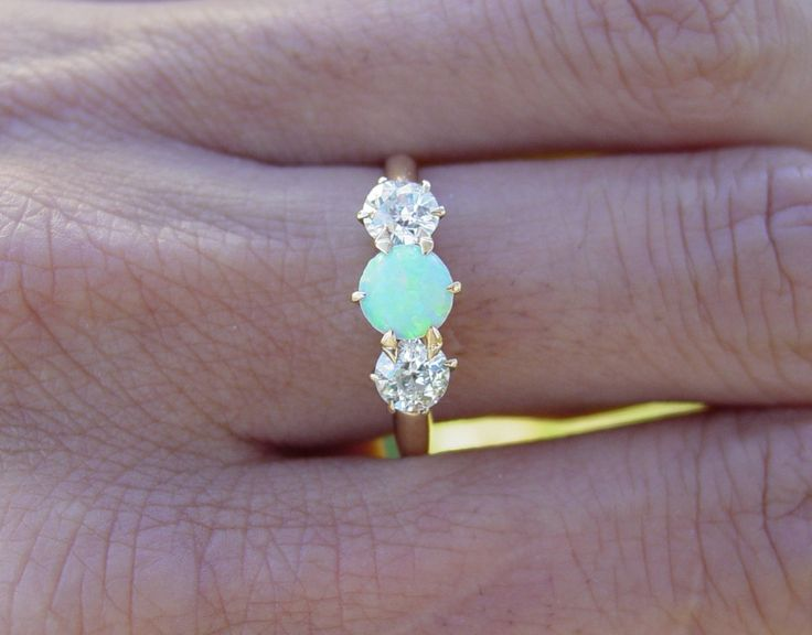 Vintage antique Opal european diamond ring: Diamond Engagement Rings, Wedding Ring, Diamond Rings, Vintage Antique