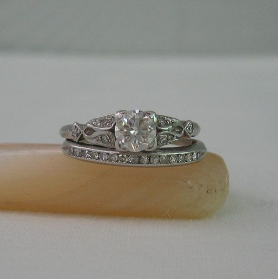 Vintage Diamond Engagement Ring and Wedding Band Set. Platinum and Diamonds. 1930s.: Wedding Idea, Diamond Engagement Rings, Wedding Band Sets, Antique Engagement Rings, Antique Wedding Rings, Antique Rings, Weddings, Wedding Bands