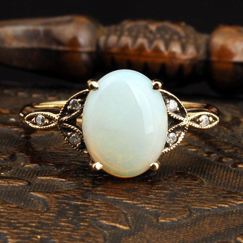 Vintage Opal and diamond gold ring.: Opal Rings, Vintage Opal Ring, Opal Engagement Ring, Style, Vintage Rings, Gold Rings, Opal Wedding Ring