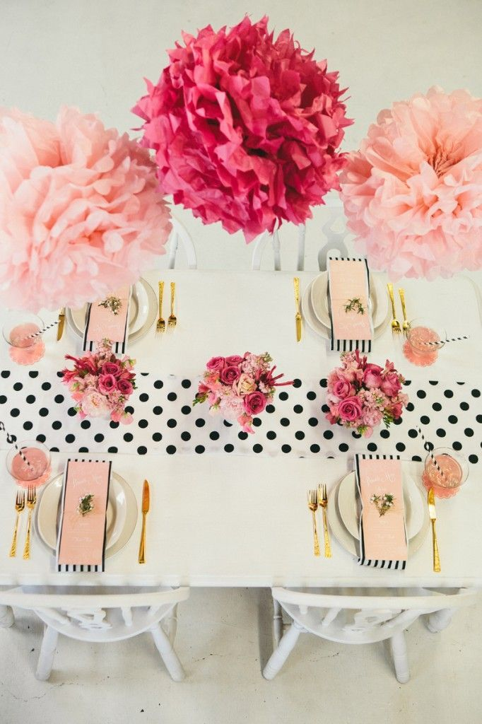 We love this brunch setting with Martha Stewart Crafts pom poms #marthastewartcrafts #12monthsofmartha: Polka Dots, Mothers, Table Setting, Bridal Shower, Mother'S Day, Tablescape, Party Ideas