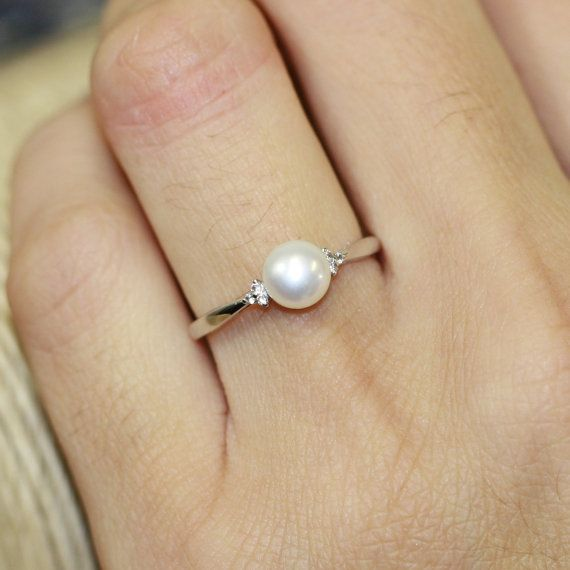 You know.... This may be my new favorite engagement ring..... Wedding band could be the diamonds... Ooooo!!!: Favorite Engagement, Pearl Engagement Rings, Pearl Wedding Ring, Weddings, Pearl Wedding Band, Wedding Bands, Simple Pearl Ring