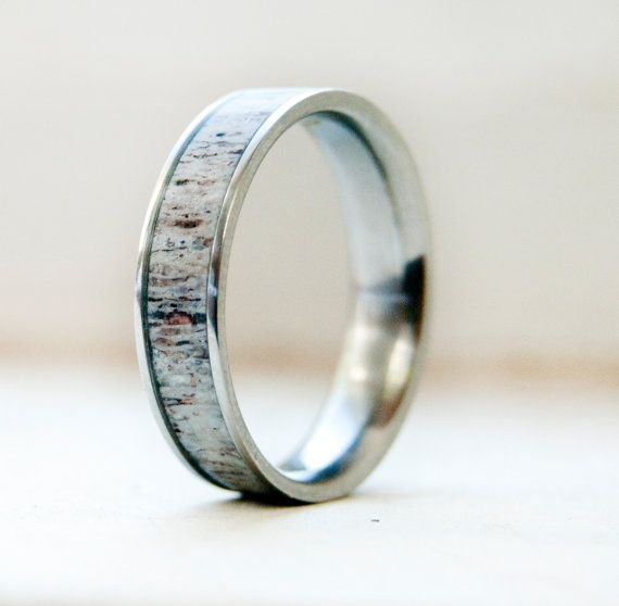 Antler and Titanium Wedding Ring Mens wedding band.  LOVE LOVE LOVE LOVE LOVE this!! Why couldn't I find something like this before the vows??!?: Wedding Ring Men, Wedding Ideas, Men Wedding Bands, Weddings, Titanium Wedding Rings, Antlers, Men'S