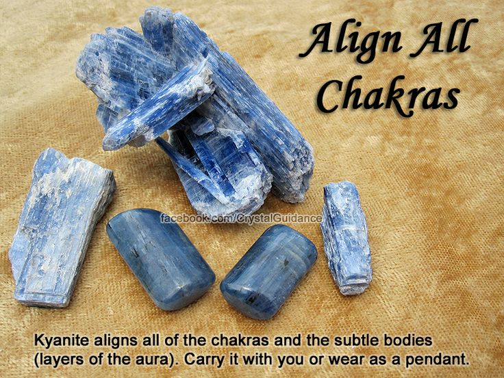 Crystal for Aligning All Chakras — Kyanite aligns all of the chakras and the subtle bodies (layers of the aura). Carry it with you, wear as a pendant, or use it as an energy wand to activate the chakras. You can do this by spinning in a clockwise motion o