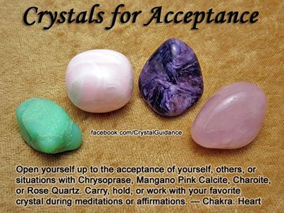 CRYSTALS FOR ACCEPTANCE - Open yourself up to the acceptance of yourself, others, or situations with Chrysoprase, Mangano Pink Calcite, Charoite, or Rose Quartz. Carry, hold, or work with your favourite crystal during meditations or affirmations. *Related