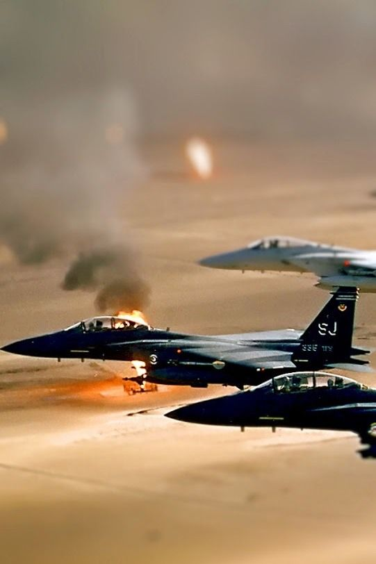 F-15 Strike Eagles on patrol in Dessert Storm: Strike Eagles, Airplanes Helicopters, F15, F 15E Strike, Fighter Jets