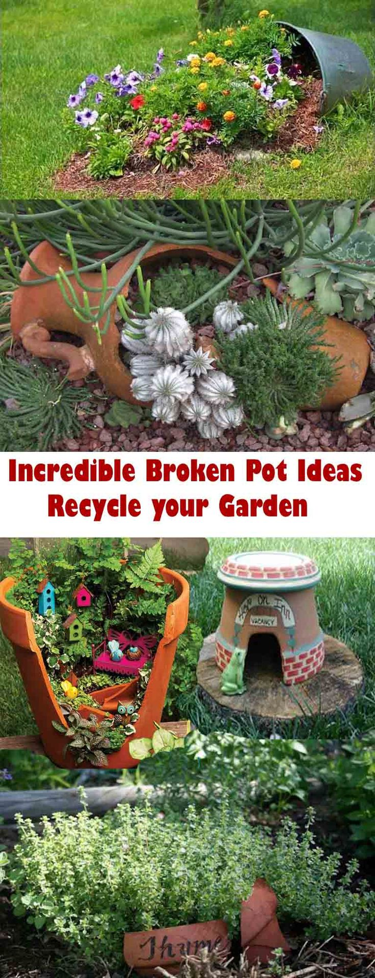 Have broken pots? Don't throw them away, check out these cool ideas to recycle them: Garden Ideas, Flower Pot Craft, Gardening Ideas, Broken Flower Pot Ideas, Outdoor Flower Pot Ideas, Flower Pots Ideas, Cool Ideas, Broken Pot, Ideas For Flower Pots