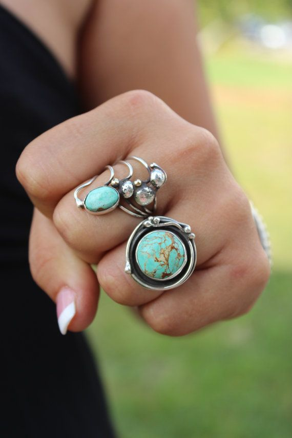 Hey, I found this really awesome Etsy listing at https://www.etsy.com/listing/183425465/round-turquoise-statement-ring-boho-chic: