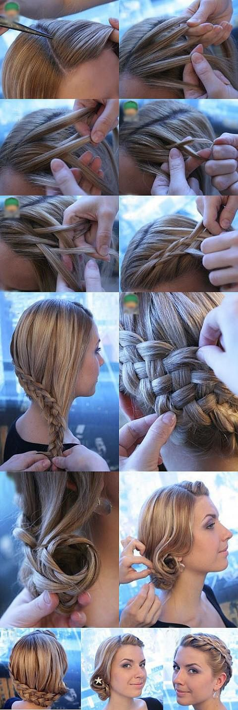 Hey, One of you straight haired people should do this! My hair would end up a tangled mess if I attempted that! But it's pretty = ): Hair Ideas, Hairstyles, Hair Styles, Long Hair, Makeup, Hair Tutorial, Braids, Updo