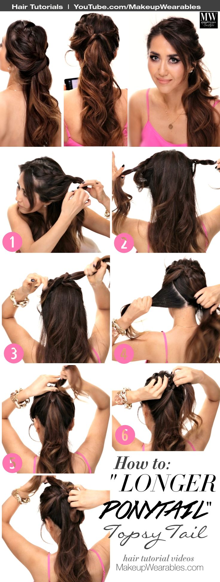 """How to """"Longer-Ponytail"""" Topsy Tail #Hairstyles 