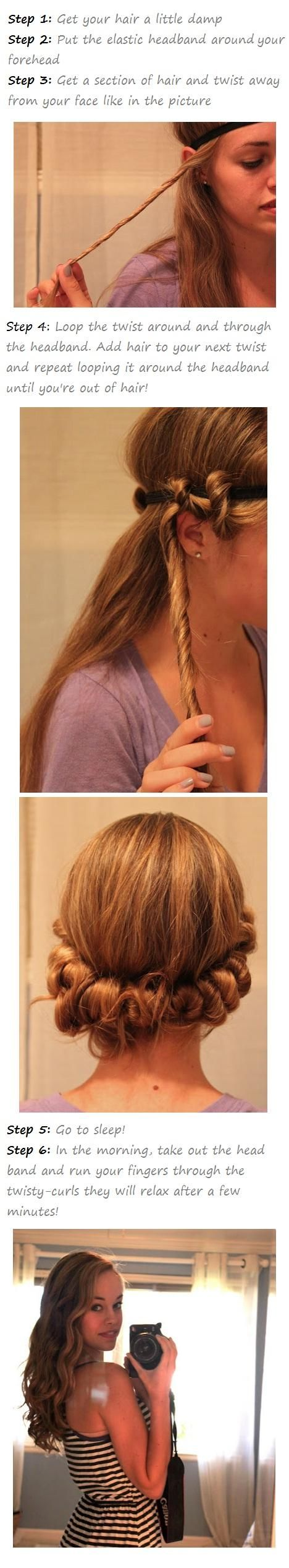 How to give yourself Natural looking curls: Hair Ideas, Hairstyles, Headband Curl, Hair Styles, Hair Tutorial, No Heat Curl, Curly Hair, Overnight Curl
