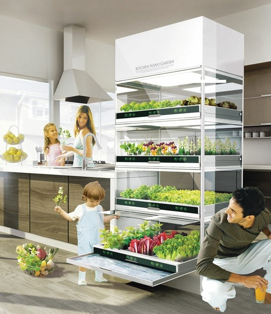 "I'm not really ""into"" veggies ... But this is probably the coolest kitchen accessory ever!: Kitchens, Ideas, Dream, Kitchen Nano, Gardens, Nano Garden, Gardening, House"