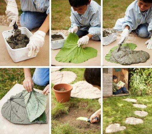 Make cement stepping stones out of large leaves. | 41 Cheap And Easy Backyard DIYs You Must Do This Summer: Garden Ideas, Outdoor, Gardens, Gardening, Leaves, Leaf Stepping Stones, Diy, Crafts