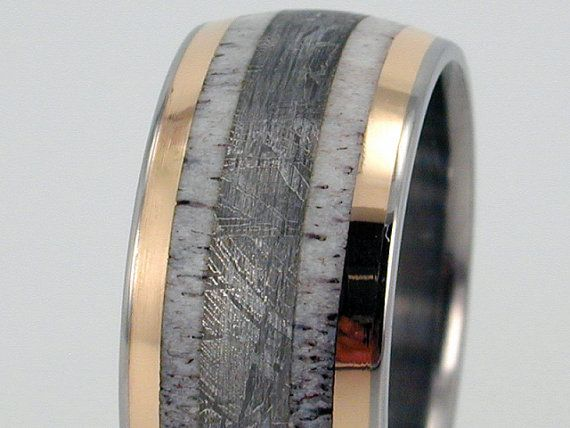 Men's wedding band or men's ring; made of titanium with gold inlay, antler inlay, and meteorite inlay: Mens Wedding Band, Deer Antler Ring, Deer Antlers, Men Wedding Bands, Gold Inlay, Men Rings, Mens Wedding Ring
