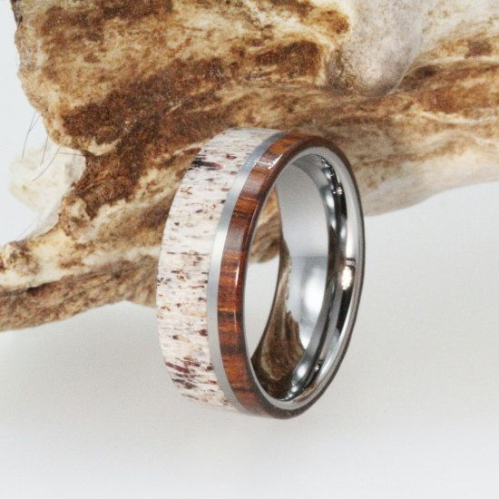 Mens Wedding Band  Titanium Ring Inlaid with by jewelrybyjohan, $299.00: Ring Inlaid, Wedding Ring, Titanium Rings, Men Wedding Bands, Deer Antlers, Weddings, Natural Materials, Dream Wedding