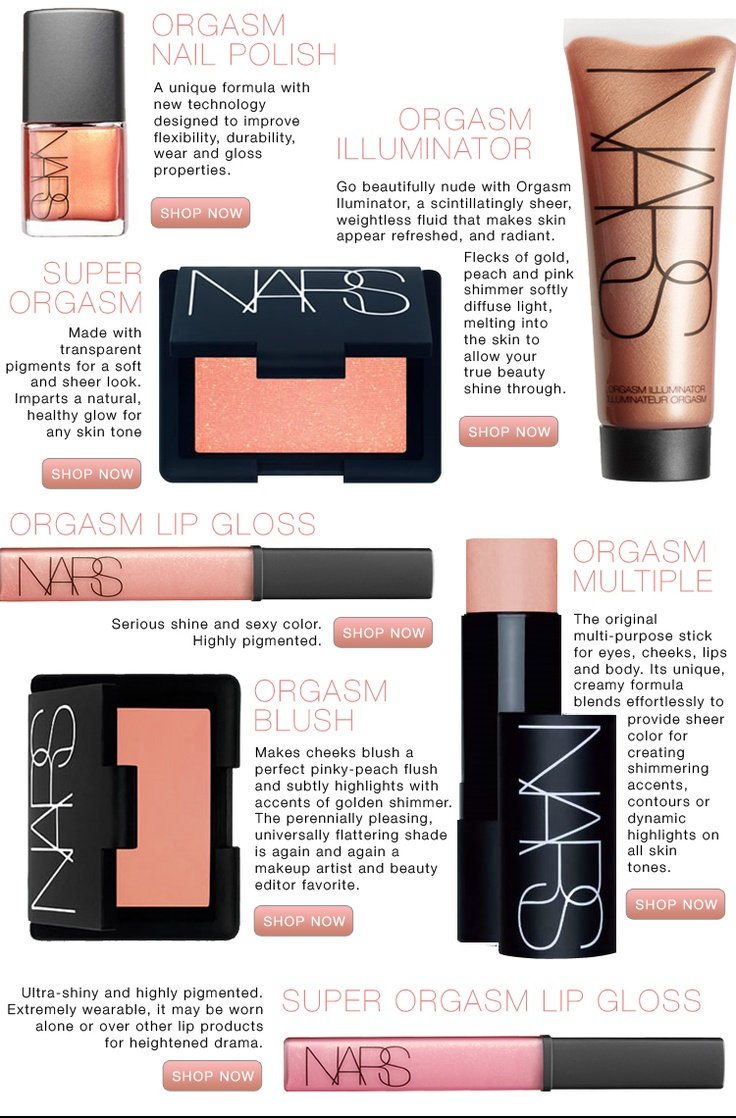 NARS orgasm - i have all of these products and they look amazing on any skin-tone. The illuminator is perfect for a summer glow all year round: Makeup Brand, Nars Orgasm Amaze Balls, Nars Makeup Looks, Makeup Color, Nars Orgasm Love, Hair, Makeup Products