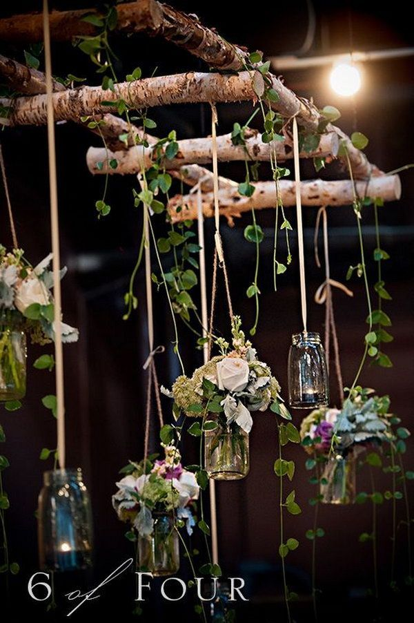Natural elements, mason jars and the twig ladder make this wedding settings more than visually appealing. http://hative.com/diy-ideas-with-twigs-or-tree-branches/: Twig Ladder, Natural Wedding, Idea, Hanging Mason Jar, Nature Decoration, Nature Wedding, N