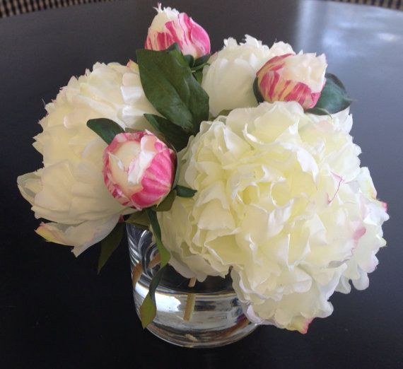 Need! Fine Silk Floral Arrangement Faux Cream Peonies x3 In Round Vase with Illusion Faux Water: Faux Water, Fine Silk, Flower Arrangements, Church Flower, Cream Peonies, Silk Floral Arrangements