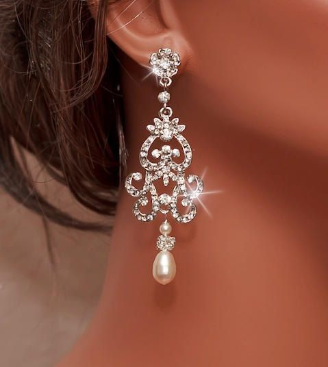 NICOLA - Handmade Bridal Rhinestone Earrings with Swarovski Cream Pearl by www.OliniBridal.com in USA. Pick Your Finish and Pearl Color. Free Shipping!: