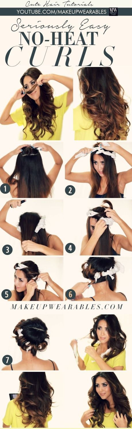 No Heat Curls Tutorials- soft, voluminous, bouncy curls without the assistance of a heated appliances...: Easy Curls, Hairstyles, Hair Styles, Hair Tutorial, Heatless Hairstyle, Long Hair Overnight Curl, No Heat Curls