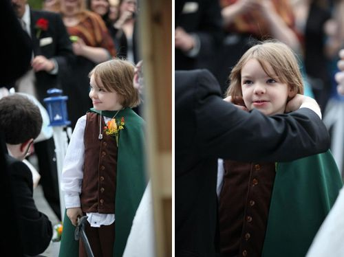Normally don't post wedding stuff...but the ring bearer dressed up as Frodo?!?!  BRILLIANT!: Geek Wedding Rings, Geeky Wedding Dresses, Hobbit Ring, Lord Of The Rings Wedding, Nerdy Wedding Rings, Geek Weddings, Bearer Dressed