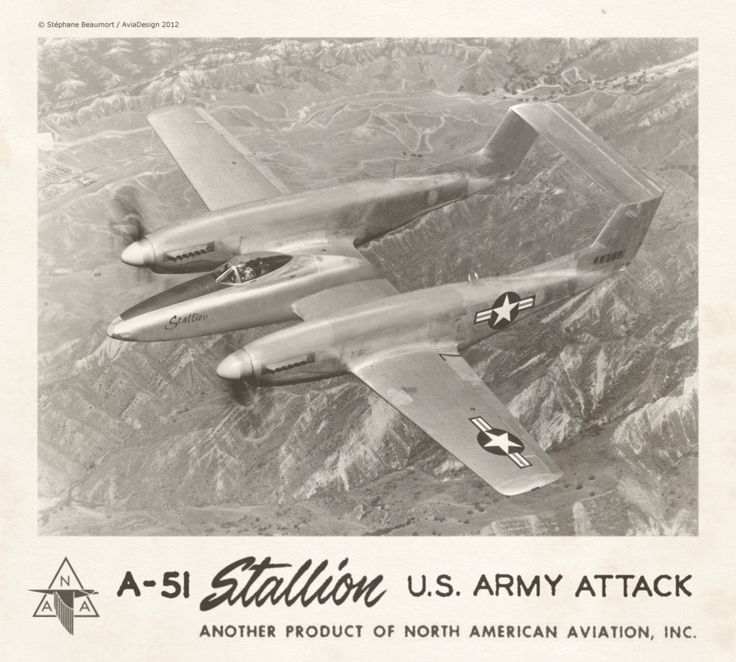 North American A-51 ''Stallion'' by Bispro -- When World War II ended, the venerable wartime North American Aviation P-51 Mustang spawned the twin-fuselage F-82 Twin Mustang. But history almost forgot the way the F-82 was in turn reworked